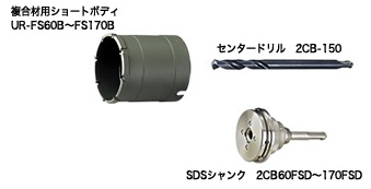 UNIKA ユニカ 多機能コアドリル UR21 UR-FS170SD FSシリーズ 複合材用 ショート SDS セット品