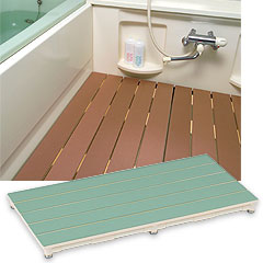 ヤザキ(個人宅配送不可) マット付きすのこ 浴室用すのこ 350mm×800mm CWM ブラウン/ライトブラウン/グリーン