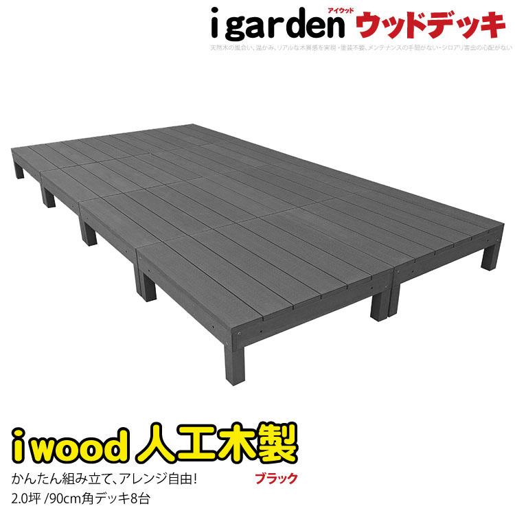 アイウッドデッキ8点セット 2坪 オープンデッキブラック アイガーデンオリジナル人工木 樹脂木 木樹脂 プラウッド セットウッドデッキ 樹脂 木製デッキ 縁台 RCP 05P03Dec16 HLS_DU 送料無料