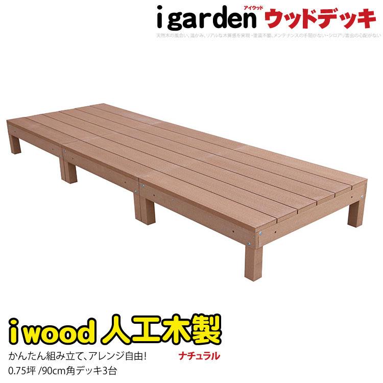 アイウッドデッキ [3点セット] 0.75坪 ナチュラル 木製デッキ 樹脂木 縁台 ウッドデッキ 人工木 樹脂 人工木ウッドデッキ 樹脂デッキ RCP i10368_3d