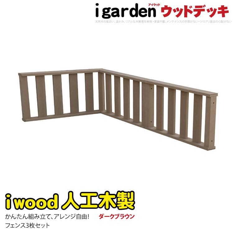 【送料無料】アイウッドデッキフェンス [3枚セット] ダークブラウン◆ 人工木ウッドデッキ 木製デッキ 樹脂木 セット 縁台