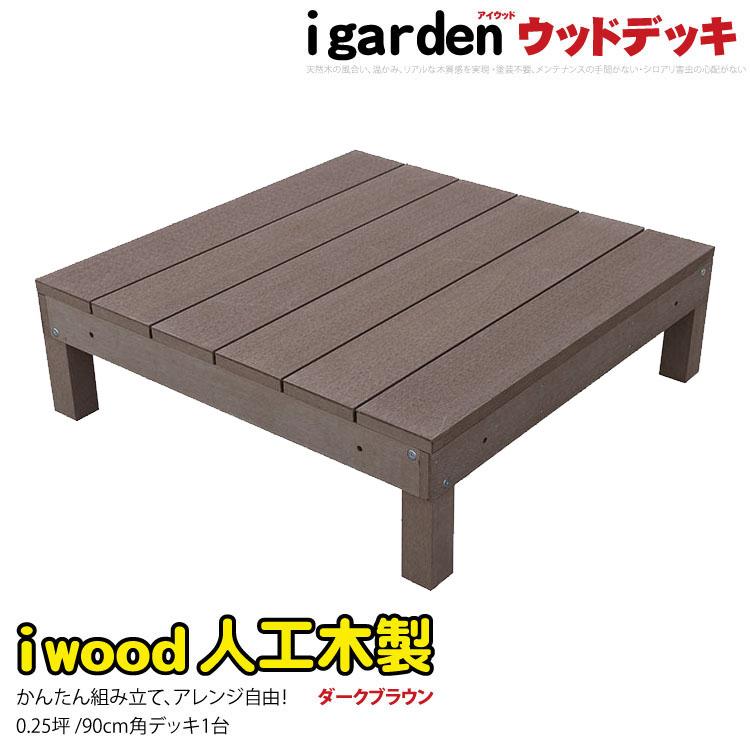 アイウッドデッキ 1点セット 0.25坪 ダークブラウン ウッドデッキ 人工木ウッドデッキ 木製デッキ 樹脂木 縁台 RCP 送料無料