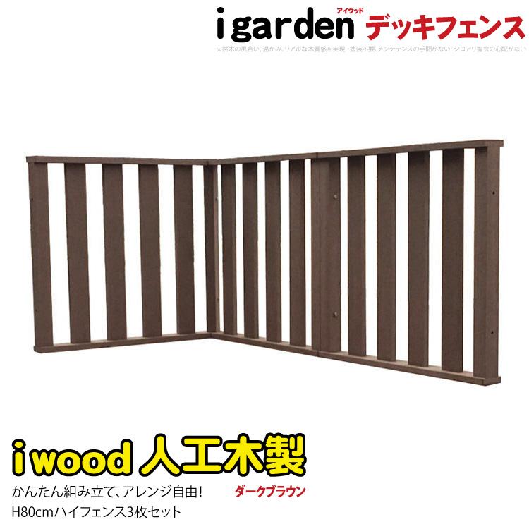 【送料無料】アイウッド デッキフェンス ハイタイプ [3枚セット] ダークブラウン◆ 人工木ウッドデッキ 木製デッキ 樹脂木 セット 縁台