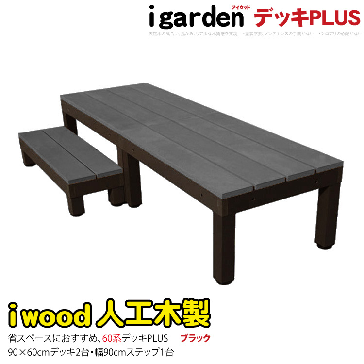 アイウッドデッキPLUS60系 2点ステップ1点セットブラックアイガーデンオリジナル 人工木ウッドデッキ 木製デッキ 樹脂木 木樹脂 プラウッド セット ウッドデッキ 樹脂 縁台 RCP 送料無料