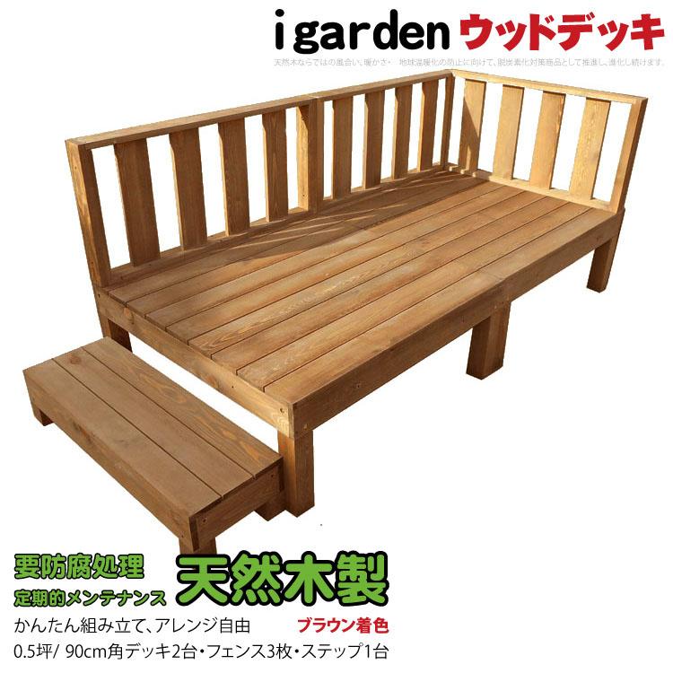 5月末頃順次出荷 天然木製ウッドデッキ [6点セット] 1.0間3尺 0.5坪 ブラウン アイガーデンオリジナル 木製デッキ セット 縁台 RCP HLS_DU 送料無料