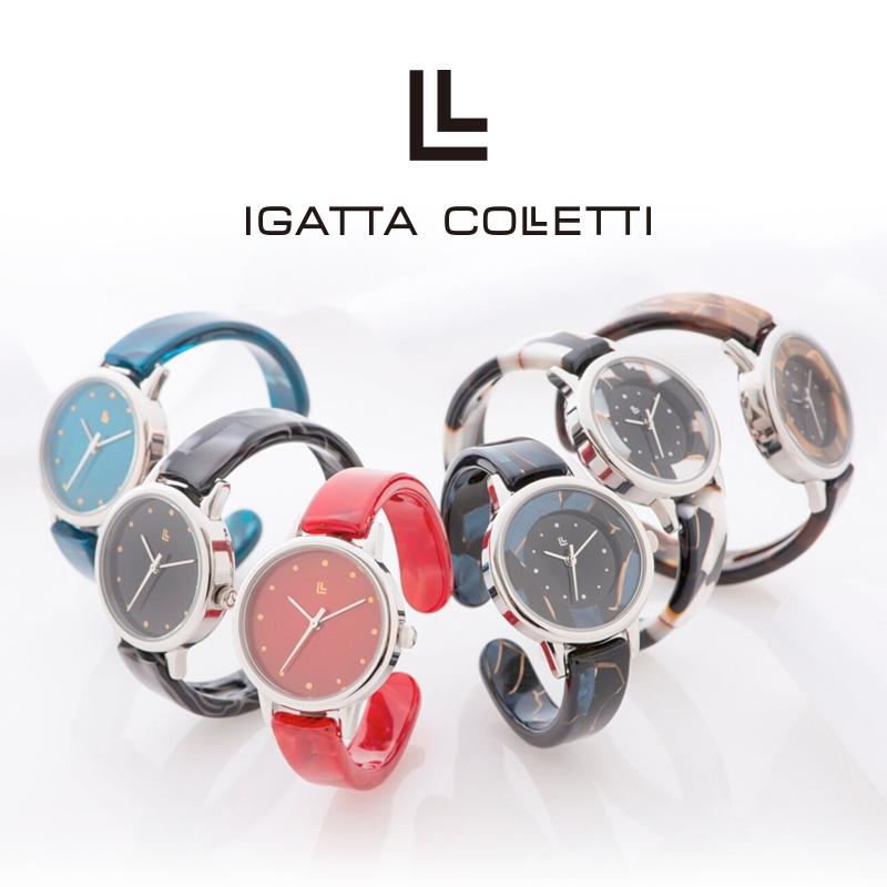 IGATTA COLLETTI バングルウォッチ スモールフェイス レディース メンズ 日本製クォーツ 6色 鯖江製 腕時計 高級眼鏡素材 漆塗り イガッタコレッティ