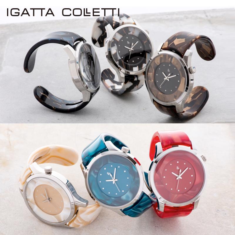 バングルウォッチ ビッグフェイス IGATTA COLLETTI(イガッタコレッティ)おしゃれ 腕時計 メンズ 日本製 6色 腕時計 高級眼鏡素材 漆塗り鯖江製