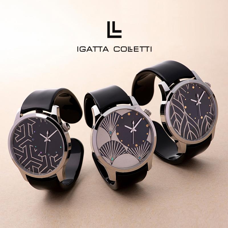 バングルウォッチ ビッグフェイス『MAKIE』 IGATTA COLLETTI(イガッタコレッティ)おしゃれ 腕時計 メンズ 日本製 3色 腕時計 銀蒔絵 高級眼鏡素材 漆塗り鯖江製