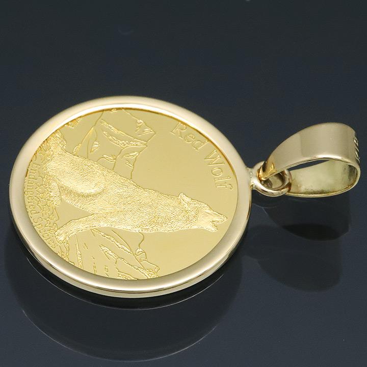 コイン ネックレス トップ ペンダントヘッド ウルフ&コンドル 24金 K24 純金 1/25oz PAMP社製
