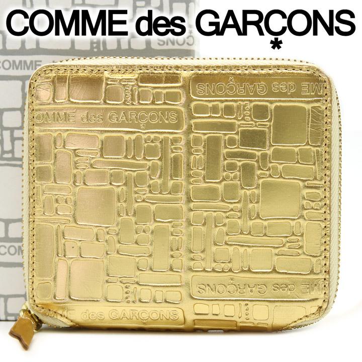 コムデギャルソン 二つ折り財布 COMME des GARCONS コンパクト財布 レディース メンズ ゴールド SA2100EG EMBOSSED LOGOTYPE GOLD 【あす楽】【送料無料】