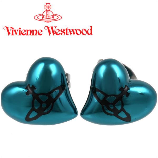 ヴィヴィアンウエストウッド ピアス Vivienne Westwood ヴィヴィアン ハートスタッドピアス ナノターコイズ×ガンメタル 【お取り寄せ】