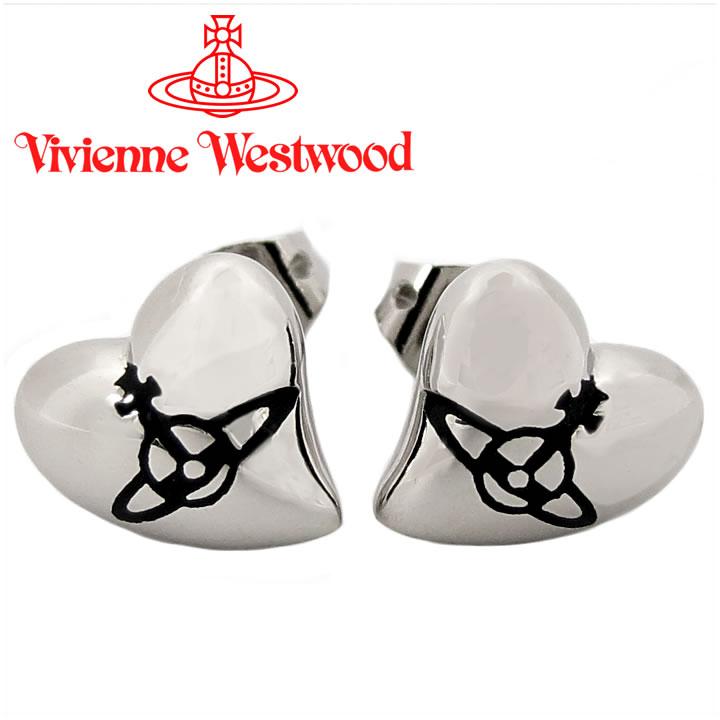 ヴィヴィアンウエストウッド ピアス Vivienne Westwood ヴィヴィアン ハートスタッドピアス シルバー×ブラック 【お取り寄せ】【送料無料】