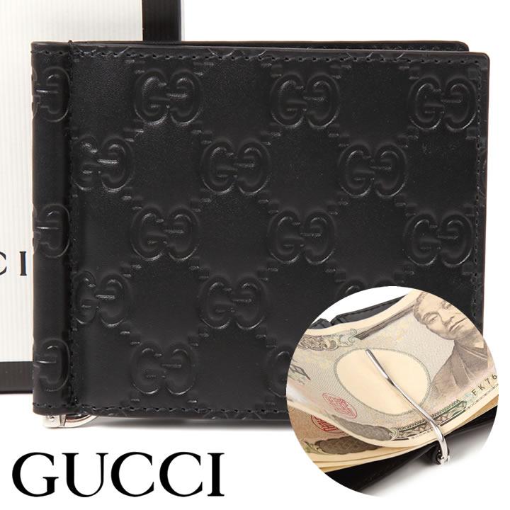 グッチ 財布 GUCCI クリップ付き二つ折り財布 グッチシマ メンズ ブラック 170580-CWC1N-1000 【お取り寄せ】【送料無料】