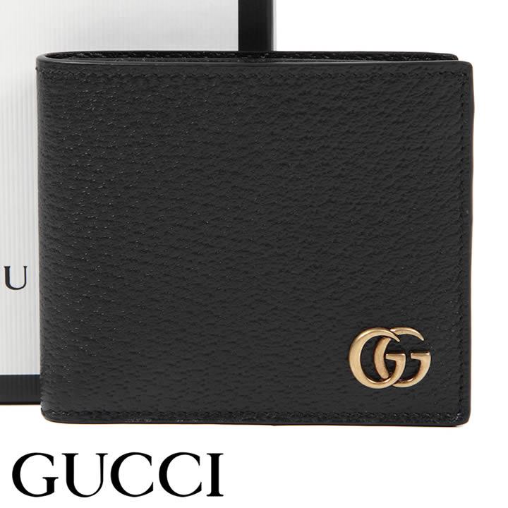 グッチ 財布 GUCCI 二つ折り財布 小銭入れなし GGマーモント メンズ ブラック 428725-DJ20T-1000 【あす楽】【送料無料】