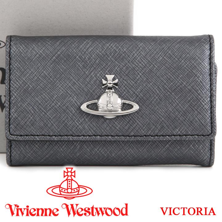 【クーポン配布中】 ヴィヴィアンウエストウッド キーケース Vivienne Westwood ヴィヴィアン 6連キーケース レディース メンズ グレー 51020001 VICTORIA ANTHRACITE 【あす楽】【送料無料】