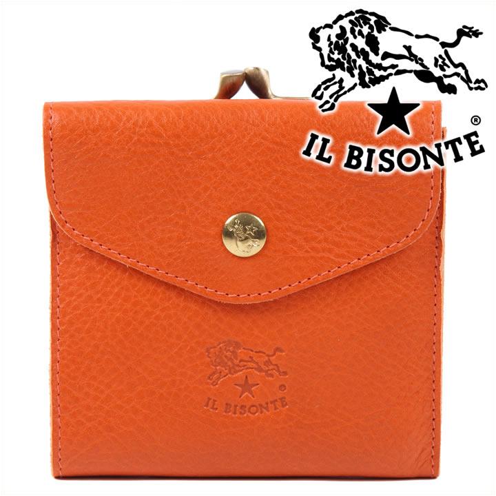 イルビゾンテ 二つ折り財布 IL BISONTE がま口財布 本革 レディース メンズ オレンジ C0423 166 【あす楽】【送料無料】