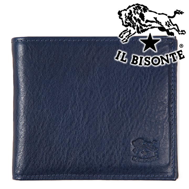 イルビゾンテ 財布 二つ折り財布 メンズ IL BISONTE 本革 ブルー C0487 866 【あす楽】【送料無料】