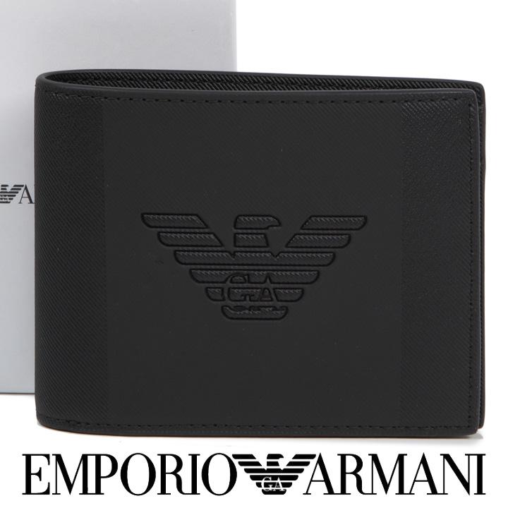 エンポリオアルマーニ 二つ折り財布 EMPORIO ARMANI 財布 メンズ ブラック Y4R165 YFE6J 81072 【あす楽】【送料無料】