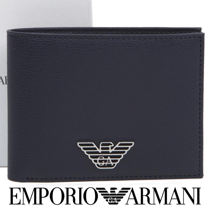 エンポリオアルマーニ 二つ折り財布 EMPORIO ARMANI 財布 メンズ ネイビーブルー Y4R165 YLA0E 80455 【あす楽】【送料無料】