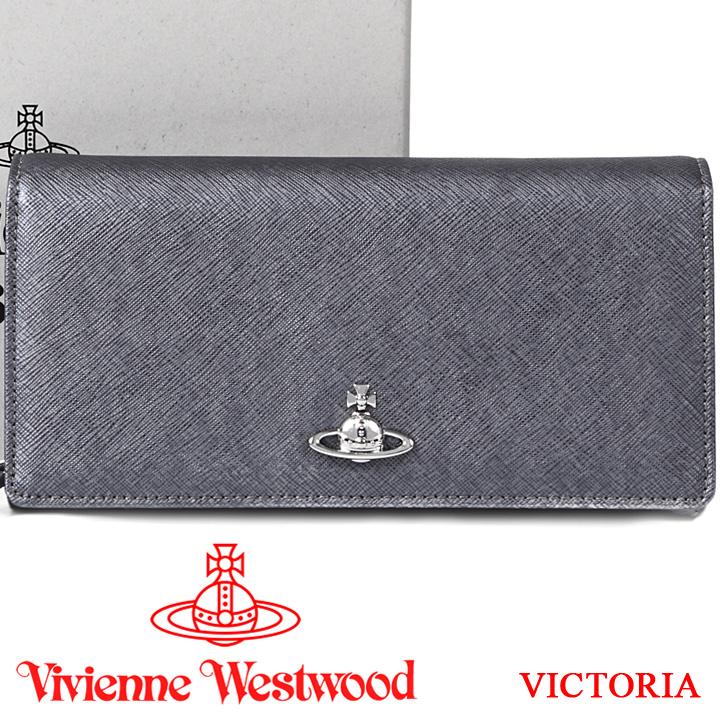 ヴィヴィアンウエストウッド 財布 ヴィヴィアン Vivienne Westwood 長財布 メンズ レディース グレー 51060025 VICTORIA ANTHRACITE 【あす楽】【送料無料】