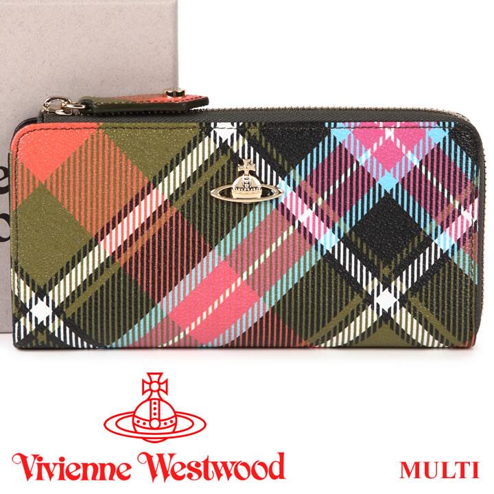 ヴィヴィアンウエストウッド 財布 ヴィヴィアン Vivienne Westwood L字ファスナー長財布 レディース メンズ チェック 10042V DERBY MULTI 【あす楽】【送料無料】