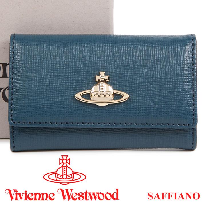 ヴィヴィアンウエストウッド キーケース Vivienne Westwood ヴィヴィアン 6連キーケース レディース メンズ ブルー 720V SAFFIANO BLUE 【あす楽】【送料無料】