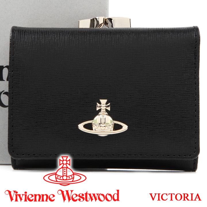 ヴィヴィアンウエストウッド 財布 ヴィヴィアン Vivienne Westwood レディース メンズ ブラック がま口三つ折り財布 51010018 VICTORIA BLACK 【あす楽】【送料無料】