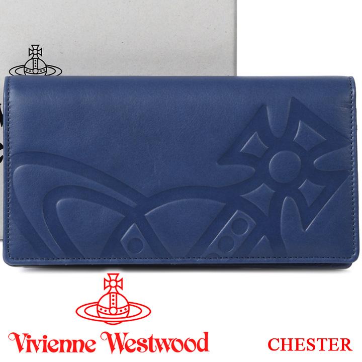 ヴィヴィアンウエストウッド 財布 ヴィヴィアン Vivienne Westwood フラップ長財布 メンズ レディース ブルー 51040010 CHESTER BLUE 【あす楽】【送料無料】