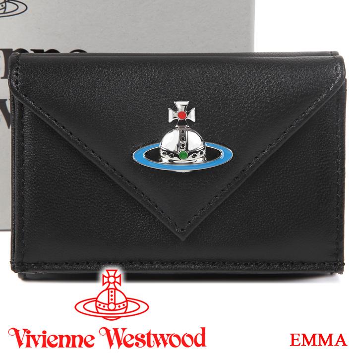 【クーポン配布中】 ヴィヴィアンウエストウッド 超ミニ財布 ヴィヴィアン Vivienne Westwood コンパクト三つ折り財布 メンズ レディース ブラック 51150014 EMMA BLACK 【あす楽】【送料無料】