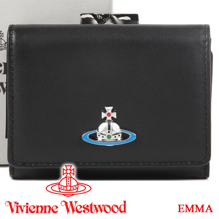 【クーポン配布中】 ヴィヴィアンウエストウッド 折り財布 ヴィヴィアン Vivienne Westwood がま口三つ折り財布 レディース ブラック 51010035 EMMA BLACK 【あす楽】【送料無料】