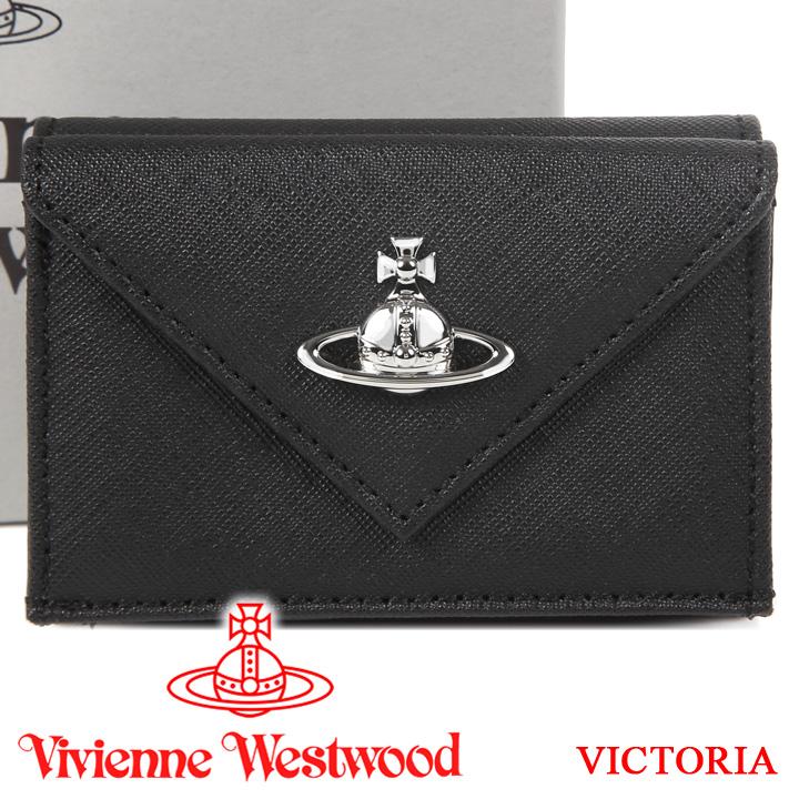 【クーポン配布中】 ヴィヴィアンウエストウッド 超ミニ財布 ヴィヴィアン Vivienne Westwood コンパクト三つ折り財布 メンズ レディース ブラック 51150014 VICTORIA BLACK 【あす楽】【送料無料】