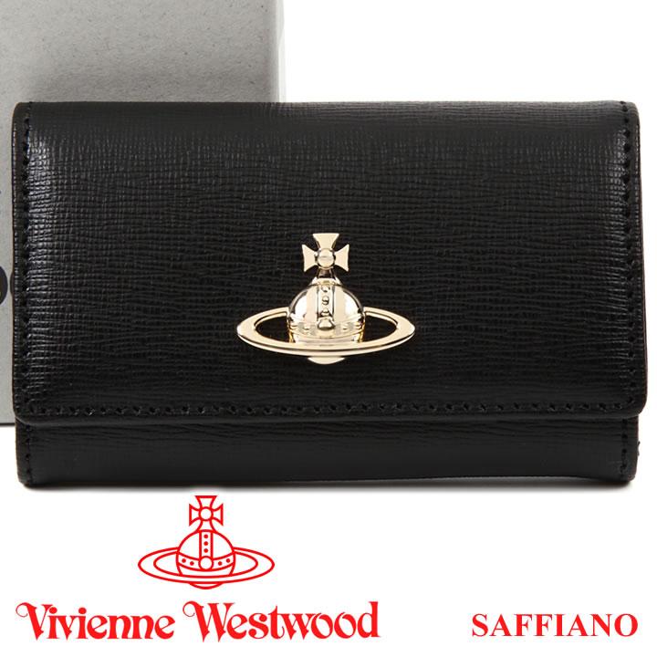 ヴィヴィアンウエストウッド キーケース Vivienne Westwood ヴィヴィアン 6連キーケース レディース メンズ ブラック 51020001 SAFFIANO BLACK 18SS 【あす楽】【送料無料】
