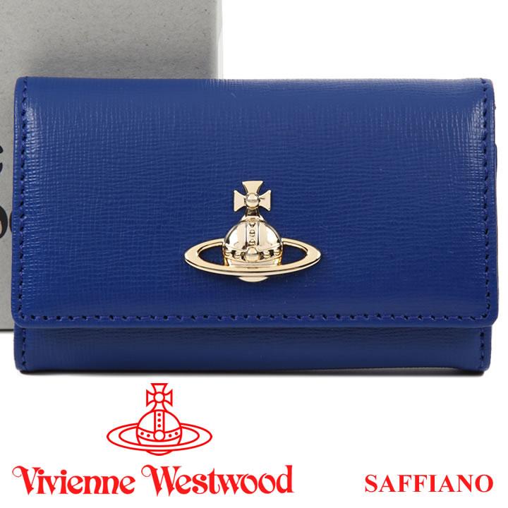 ヴィヴィアンウエストウッド キーケース Vivienne Westwood ヴィヴィアン 6連キーケース レディース メンズ ブルー 51020001 SAFFIANO BLUE 18SS 【あす楽】【送料無料】