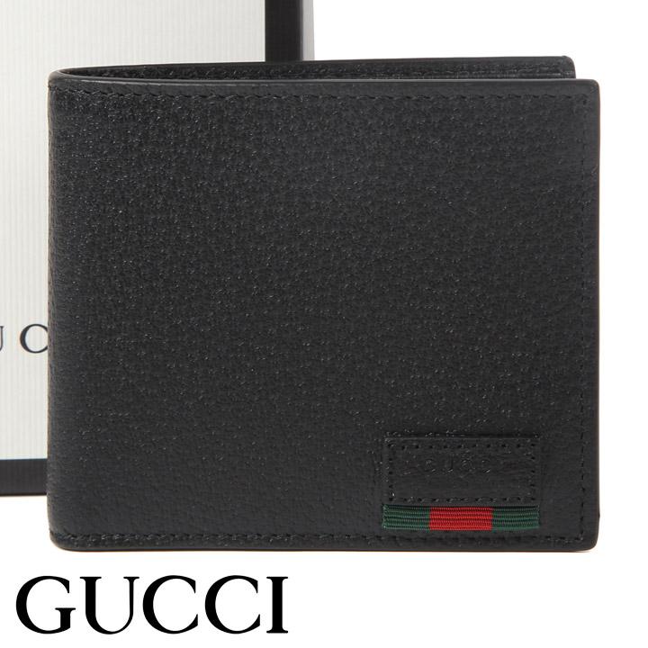 グッチ 財布 GUCCI 二つ折り財布 ウェブ付き メンズ ブラック 428748-DJ21T-1060 【あす楽】【送料無料】