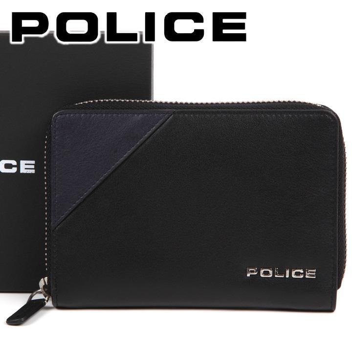 ポリス 長財布 POLICE コンパクト ラウンドファスナー財布 本革 メンズ 男性用 ブラック×ネイビー PLC141 BLACK 【あす楽】【送料無料】