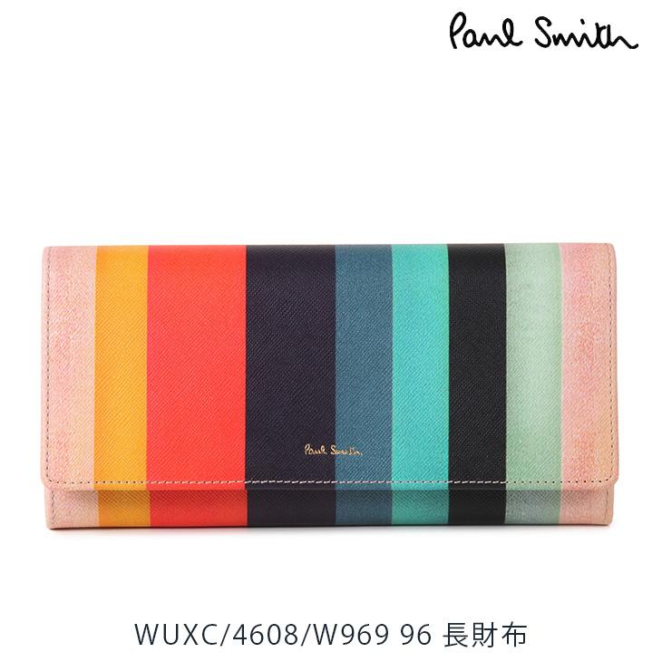 ポールスミス PaulSmith 長財布 レディース メンズ マルチカラーストライプ ブラック WUXC/4608/W969 96 【並行輸入品】