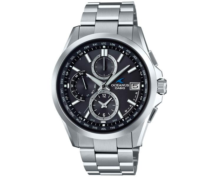 カシオ オシアナス 電波 ソーラー クラシックライン ブラックフェイス OCW-T2600-1A2JF CASIO OCEANUS クロノグラフ チタン 黒 メンズ 腕時計 【あす楽】
