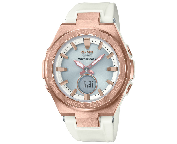 カシオ ベビーG 電波 ソーラー ジーミズ ゴールド&ホワイト MSG-W200G-7AJF CASIO BABY-G G-MS タフソーラー 電波時計 デジタル&アナログ コンビネーション ウレタンバンド 白 金 レディス レディース 腕時計