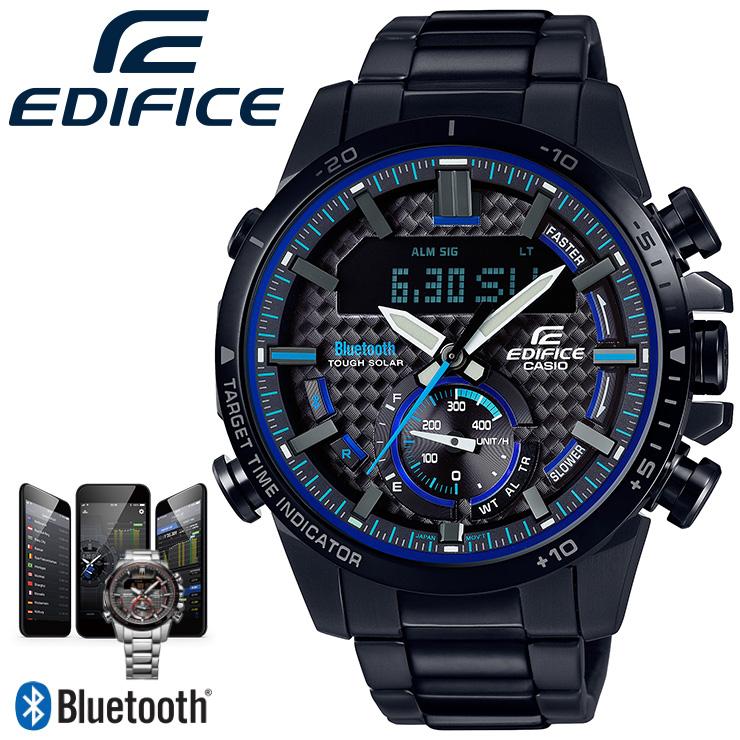 カシオ エディフィス Bluetooth搭載 スマートフォンリンク ブラックIP ECB-800DC-1AJF CASIO EDIFICE クロノグラフ デジタル&アナログ コンビネーションモデル 黒 メンズ 腕時計