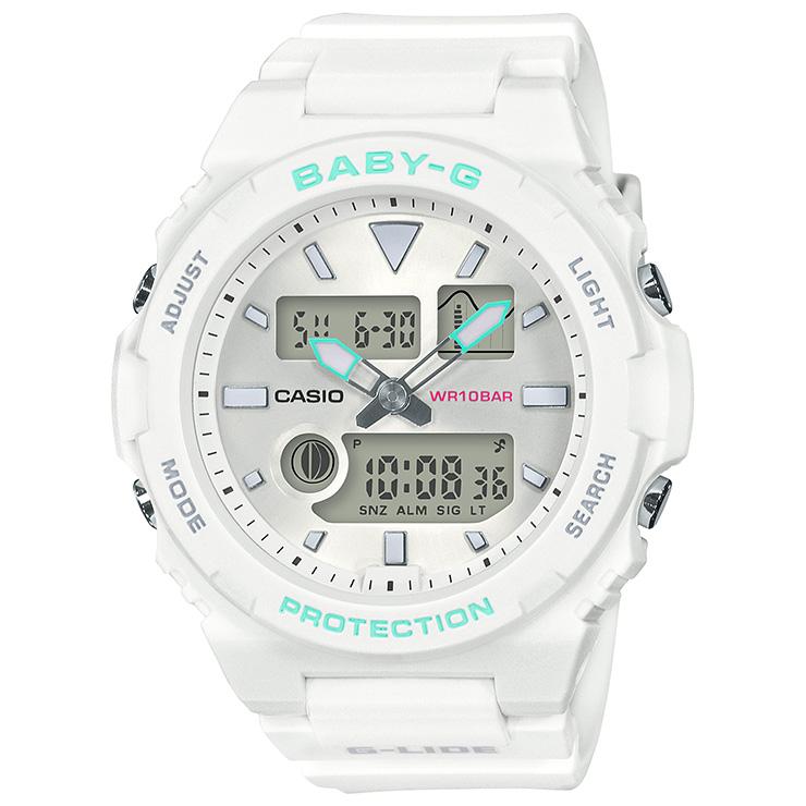 カシオ ベビーG スポーツライン Gライド ホワイト BAX-100-7AJF CASIO BABY-G G-LIDE デジタル&アナログ コンビネーション タイドグラフ ムーンデータ 白 レディス レディース 腕時計 【あす楽】