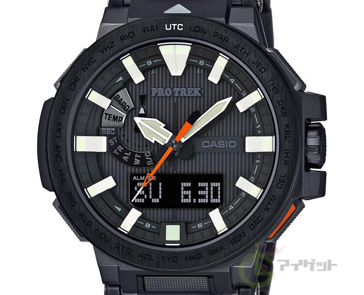 卡西欧初期Lec MANASLU CASIO PROTREK MANASLU PRX-8000YT-1JF三倍感应器太阳能电波钟表竹内洋岳联合黑色黑人手表