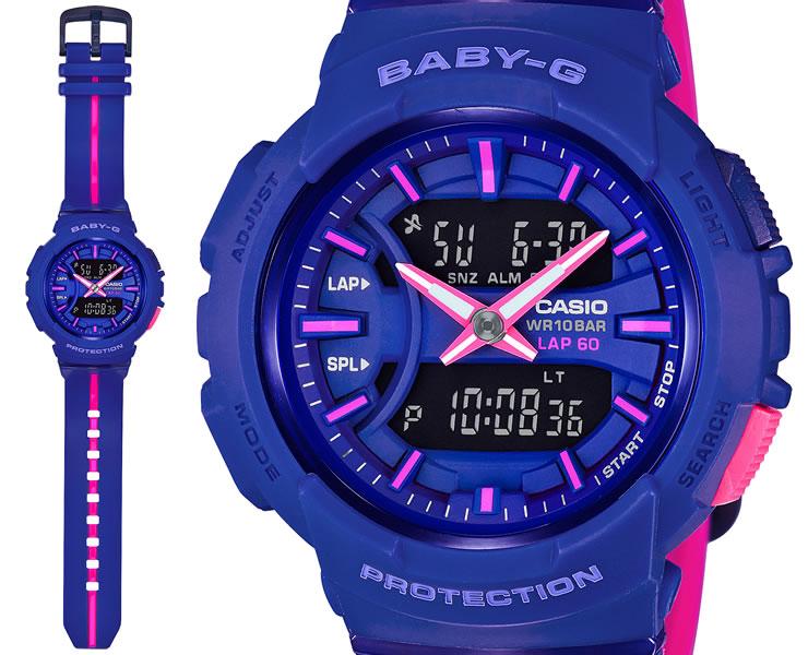 カシオ BABY-G ランニング向け パープル&ピンク BGA-240L-2A1JF CASIO ベビーG for running ラップ計測メモリー60本 デジタル 紫 レディス レディース 腕時計 【あす楽】