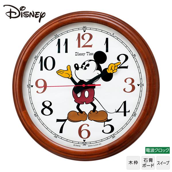 セイコー SEIKO ディズニー Disney FW582B ミッキーマウス 電波 掛 時計 グリーン購入法適合 木枠 名入れ可 文字入れ可 【お取り寄せ】【Disneyzone】 【02P03Dec16】