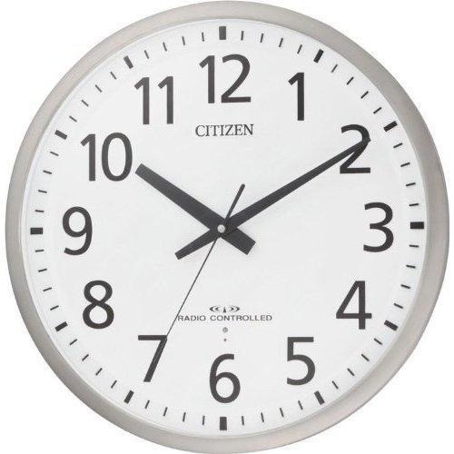 【電波 掛 時計 オフィス】 シチズン CITIZEN 電波 掛 時計 金属枠 大型 8MY463-019 ユニバーサルフォント 連続秒針 夜眠る秒針 電池交換お知らせ 【30%OFF】【お取り寄せ】 【02P26Mar16】
