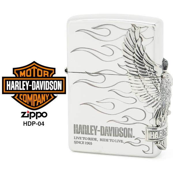 【Harley Davidson ハーレー ダビッドソン】 Zippo ハーレー ダビッドソン ジッポー ZIPPO Harley-Davidson HDP-04 シルバーイブシメッキ 片面エッチング シルバーイブシメタル ライター 【お取り寄せ】