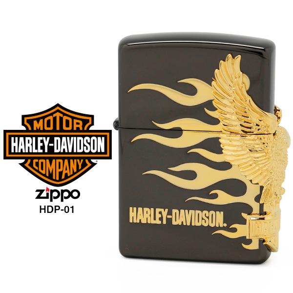 【Harley Davidson ハーレー ダビッドソン】 Zippo ハーレー ダビッドソン ジッポー ZIPPO Harley-Davidson HDP-01 ブラックイオンメッキ 両面エッチング ゴールドメタル ライター 【在庫あり】【あす楽】