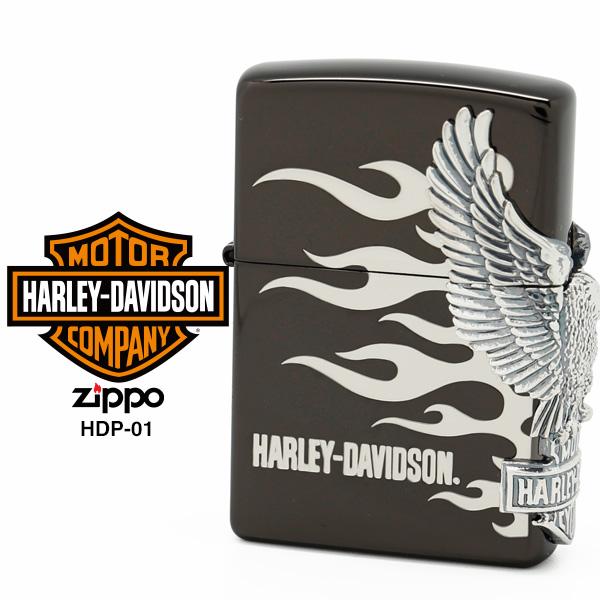 【Harley Davidson ハーレー ダビッドソン】 Zippo ハーレー ダビッドソン ジッポー ZIPPO Harley-Davidson HDP-02 ブラックイオンメッキ 両面エッチング シルバーイブシメタル ライター 【在庫あり】【あす楽】