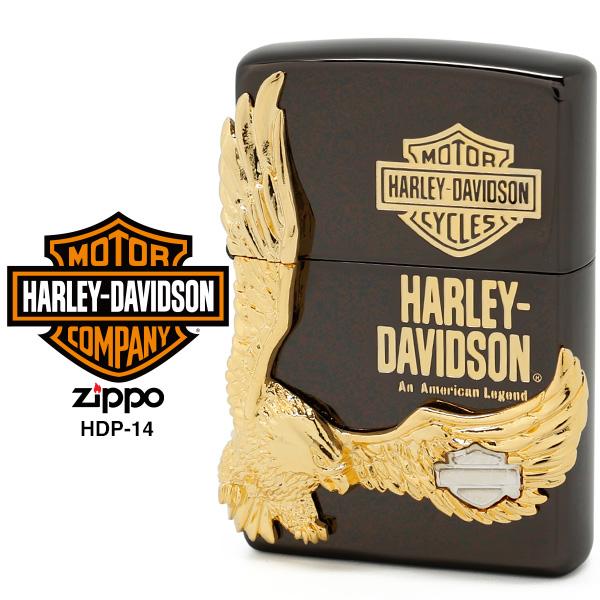 【Harley Davidson ハーレー ダビッドソン】 Zippo ハーレー ダビッドソン ジッポー ZIPPO Harley-Davidson HDP-14 ブラックイオンメッキ 片面エッチング ゴールド&シルバーダブルメタル ライター 【在庫あり】
