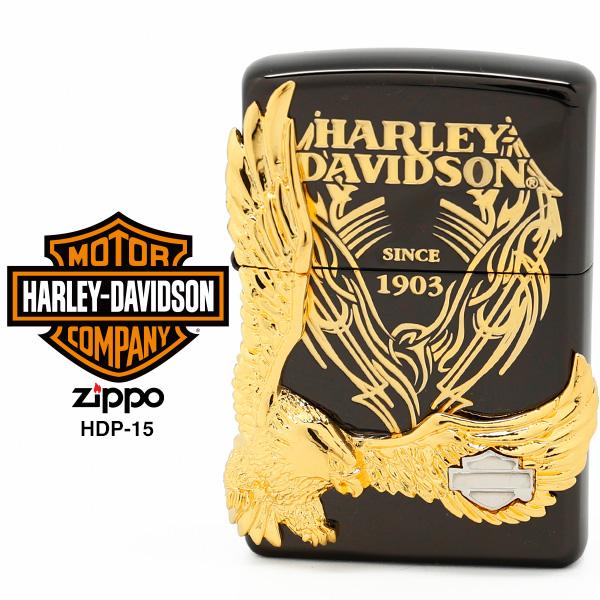 【Harley Davidson ハーレー ダビッドソン】 Zippo ハーレー ダビッドソン ジッポー ZIPPO Harley-Davidson HDP-15 ブラックイオンメッキ 片面エッチング ゴールド&シルバーダブルメタル ライター 【お取り寄せ】