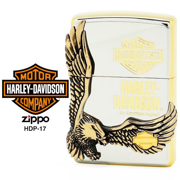 Zippo ハーレー ダビッドソン ジッポー ZIPPO Harley-Davidson HDP-17 シルバーゴールドサテンメッキ BS古美&ゴールドダブルメタル ライター 【在庫あり】【あす楽】